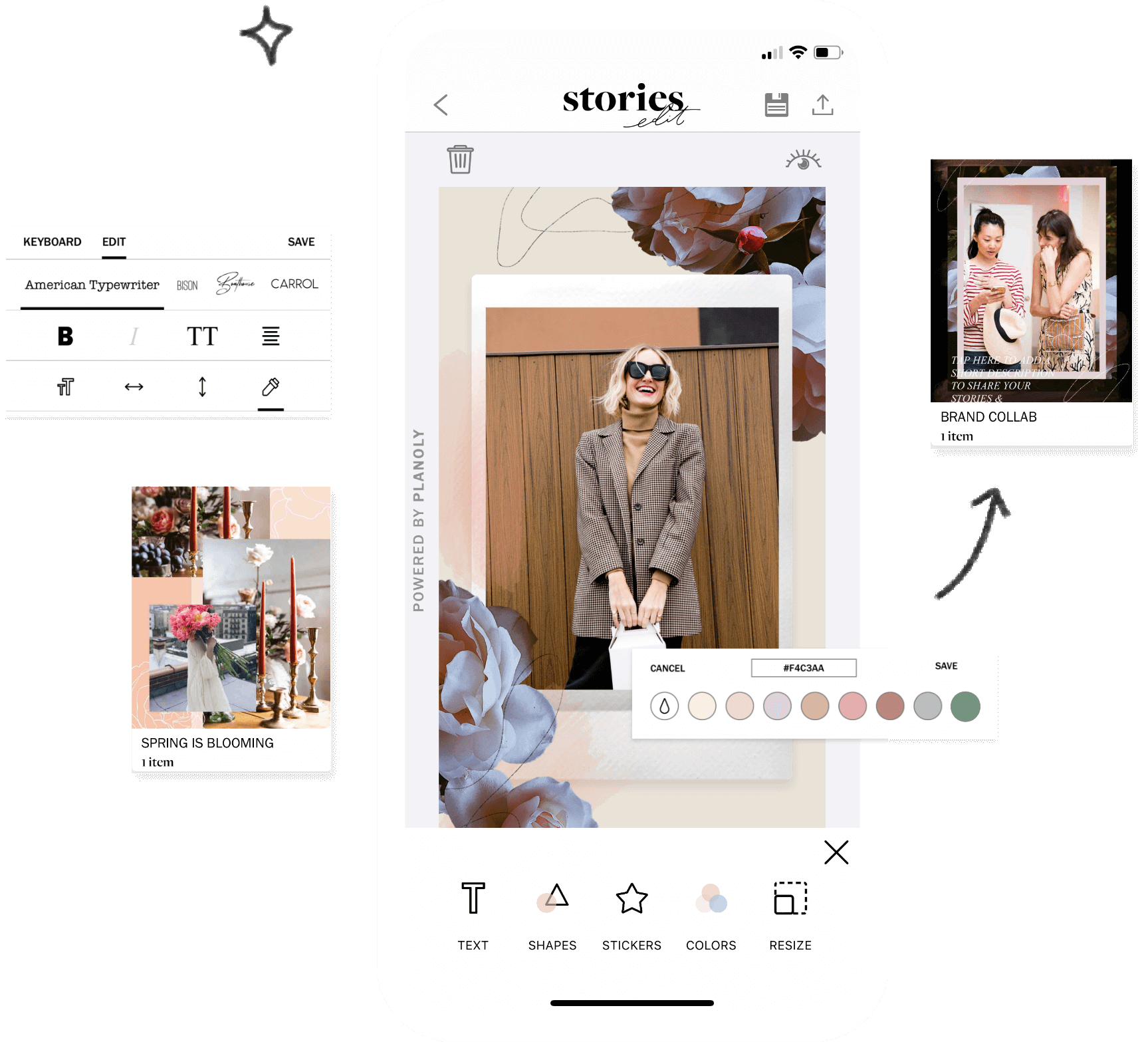 Planoly, Create social content with StoriesEdit